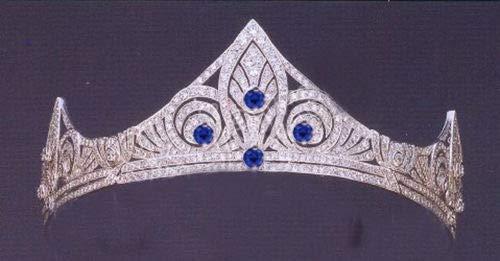 costozon Cheap Tiaras 20.50Ct Natural Diamond Real Sapphire 14K White Gold Wedding Anniversary Tiara