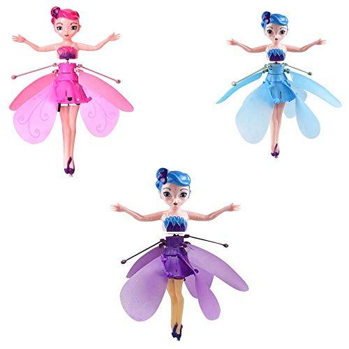 Bean Flying Princess Doll con Luces, Fairy Princess Helicopter Carga USB con Luces Control de inducción infrarroja para niños (One Each, 3 Cajas)