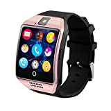 WZJ Reloj Inteligente Q18, Bluetooth Smartwatch, Waterproof Touch Screen Intelligent Wristwatch with SIM Card Slot, Camera/Pedometer/Sleep Monitor/Sedentary Remind Functions for Android, iOS,Oro