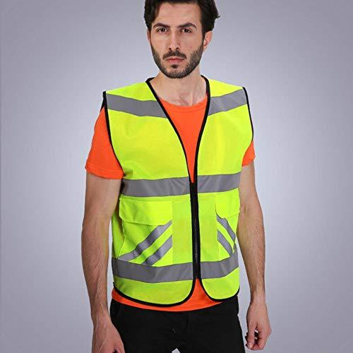 Vest Reflecterende Veiligheid Hi Vis Werkkleding Veiligheid Vest Reflecterende Vest Met Reflecterende Strepen Voor Motorfiets Eén maat Geel