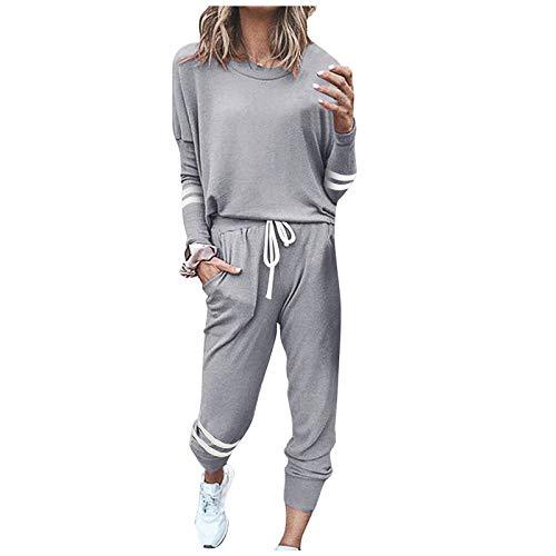 BIBOKAOKE Chándal para mujer, chándal deportivo de dos piezas, parte superior de manga larga, pantalones largos, pijama, ropa de salón con bolsillos, ropa de ocio, ropa deportiva, juego de sudadera