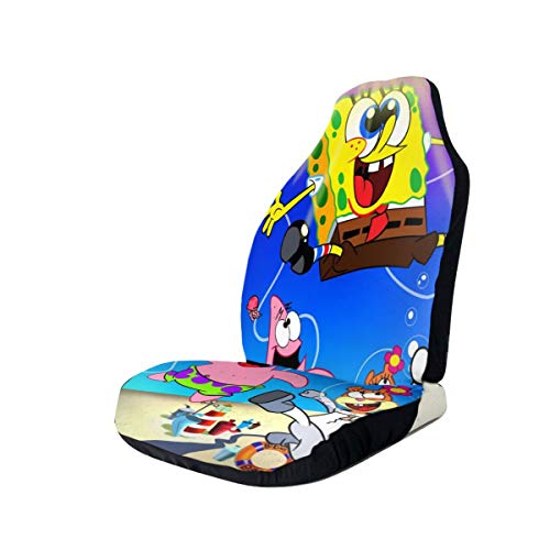 WXPENG Cartoon Spongebob Squarepants Car Seat Covers, Luxury Car Seat Protectors Universal Bucket Seat Cover Fit with Pad Protectors for Car, Truck & SUV,Easy Install with Pockets 2 Pcs