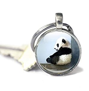 One Life ,one jewerly Panda Keyring, Panda Glass Photo Keyring, Baby Panda Keychain - Glass Panda Keychain