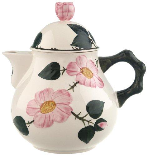 Villeroy & Boch Wildrose Teekanne, 1 l, Premium Porzellan, Weiß/Bunt