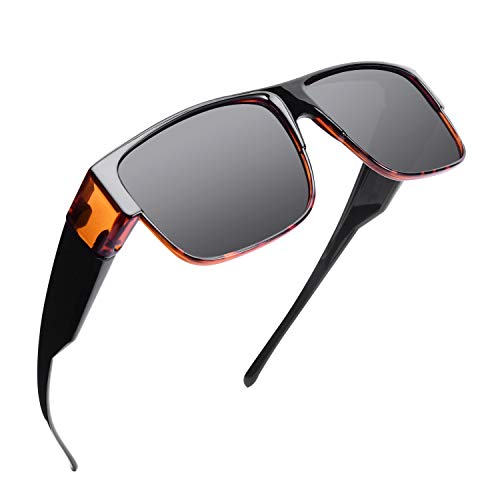Br'Guras 偏光 オーバーグラス サングラス 偏光レンズ メガネの上から オーバーサングラス UV400 紫外線防止 超軽量 メンズ レディース オシャレ運転サングラス ドライブ 釣り ゴルフ (ブラウン)