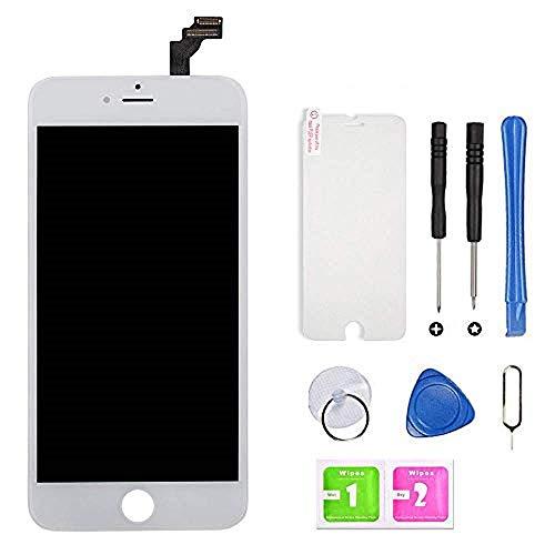 Hoonyer Display per iPhone 6 Schermo (4.7 Pollici) LCD Touch Screen Frame Bianco Vetro Schermo Kit Smontaggio Trasformazione Completo di Ricambio Utensili Inclusi