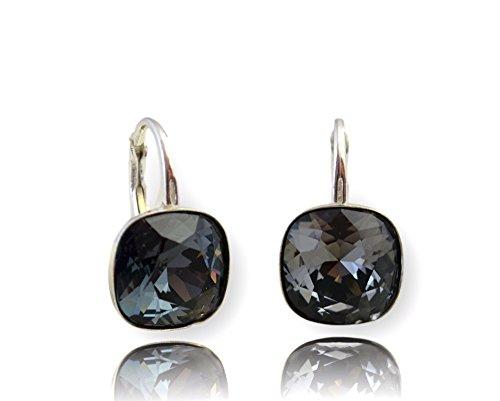 Crystals & Stones *Viele Farben* Silber 925 *SQUARE* - Ohrringe mit Kristallen von Swarovski® - Schön Ohrringe Damen Ohrhänger - Wunderbare Ohrringe mit Schmuckbox (Graphit)
