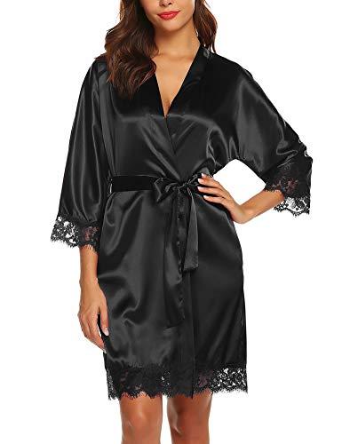 BESDEL Kimono de satén para mujer, albornoz corto, ropa de dormir, color liso con bolsillos, negro XXL