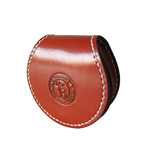 Tourbon Small Round Coin Purse Genuine Leahter Earplug Key Holder Brown Handmade Sewing with Belt Loop