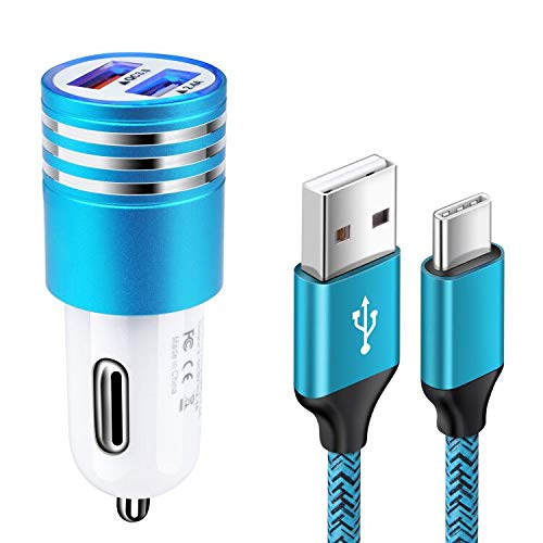 Quick Charge 3.0 Fast Car Charger Rapid USB Car Adapter Plug with Type C Charging Cable for Samsung Galaxy S20 S21 Ultra Plus S20 FE S10e S10 S9 S8 A10e A01 A11 A20 A50 A51 A70,Moto G9 G8 G7 Play Plus