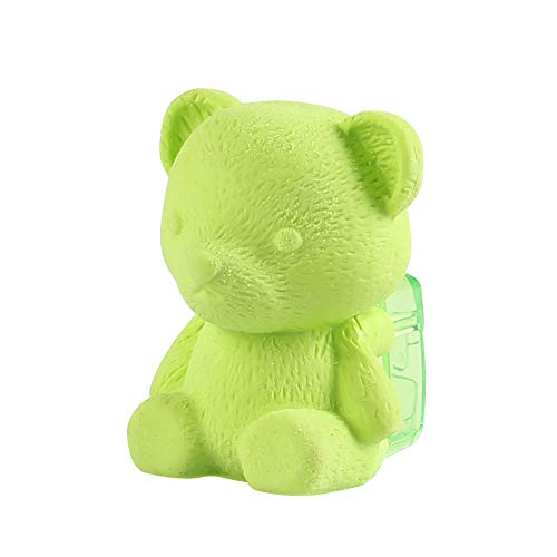 Eagle Manual Pencil Sharpener and Eraser,Cute BearShape,forStandard6-8 mmPencils,Perfect forKids, Pack of 1 (Green)