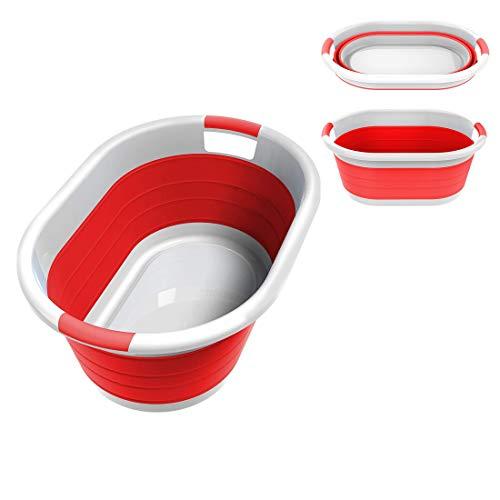 Cesto Plegable de Plástico para la Ropa - Tamaño Grande - para Juguetes de Niños o Dormitorios Universitarios, Cesta Decorativa para la Colada, Color Rojo y Blanco, Rojo