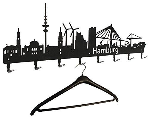 Wandgarderobe - Hamburg Skyline - Flurgarderobe 80 cm - Kleiderhaken, Hakenleiste, Garderobenleiste, Garderobenhalter, Garderobe - Metall, schwarz