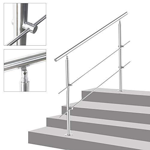 Geländer Edelstahl Handlauf Treppengeländer Innen und Außen, 2 Pfosten, 100cm, mit 2 Querstreben für Treppen, Brüstung, Balkon
