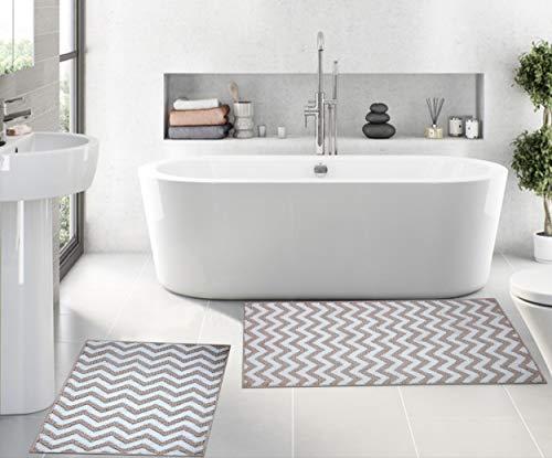 HILLFAIR 2 alfombrillas de baño – 50 x 81 cm y 40 x 61 cm – Antideslizante lavable a máquina para el baño – Alfombra de baño...