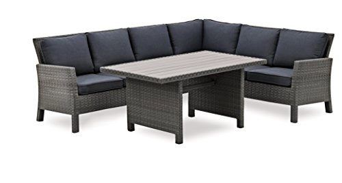 Hohe Dining Poly Rattan Lounge inkl. Kissen