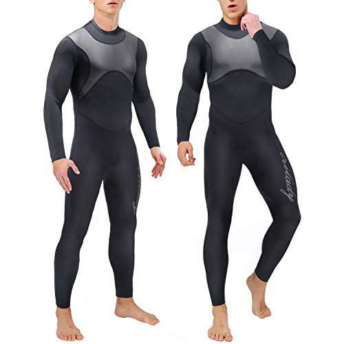 Wetsuit 1.5mm Neoprene Full Wetsuit for Mens Long Sleeve Diving Suits with Back Zipper UV Protection Full Body Wetsuit for Swimming Diving Surfing Kayaking Snorkeling (Black, X-Large)