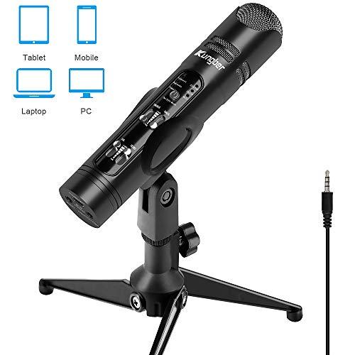 Kungber PC Mikrofon für Handy oder Smartphone, 3,5mm Gaming Microphone mit Ständer, für iPhone & Android, Loptop,Desktop,Mac,ipad,Aufnahme,Recording,karaoke