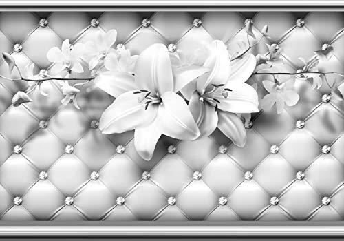 wandmotiv24 Fototapete Grau Blumen Lilien Diamanten Polster XL 350 x 245 cm - 7 Teile Fototapeten, Wandbild, Motivtapeten, Vlies-Tapeten Leder Wand Blumenranke M5218