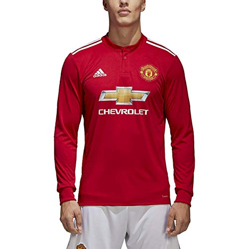 adidas Men's Soccer Manchester United FC Home Jersey Long Sleeve (XL) Red