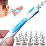 Q Grips Ear Wax Remover Soft Spiral Earwax Removal Tool with 16 Replacement Heads Safe Reusable Ear Wax Removal Kit for Adults & Kids