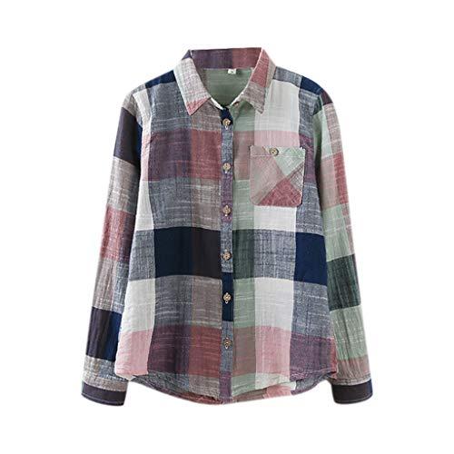 VJGOAL Damen Bluse, Damen Mode lässig passenden Farbe herbstlichen Langarm-Taste lose Kariertes Hemd Bluse Top T-Shirt (36, S-Wellenpunkt-grau)