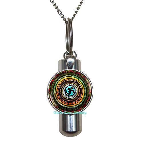 Collar con URN de cremación con símbolo de Om, URN de Om, collar con URN de cremación de Namaste, URN de Zen, joyería de yoga, joyería budista, amuleto de Om, collar URN de cremación de yoga para hombre, collar de URN de cremación bohemio, Q0113