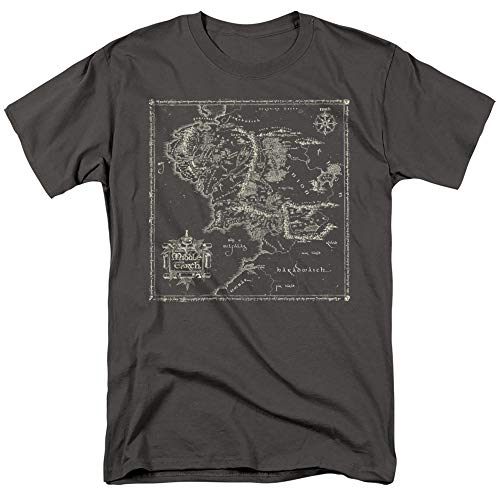 The Lord of The Rings Map of Middle Earth Unisex Adult T Shirt for Men and Women, Charcoal, X-Large