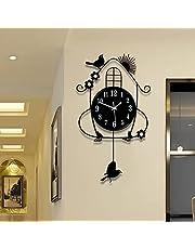 Reloj Creativo De Pared De Hierro Forjado,Reloj De Decoración De Aves De Swing Creativo Silencioso,Reloj De Péndulo Adecuado para Los Niños De La Sala De Estar del Dormitorio's Hab