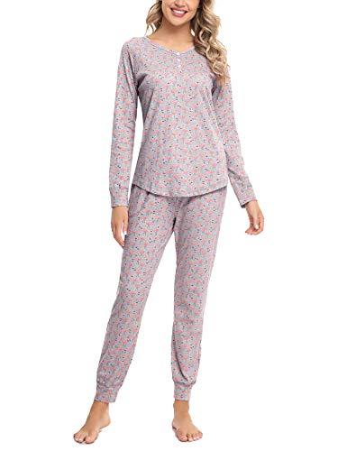 Hawiton Pijamas Mujer Invierno Manga Larga Conjunto de Pijama para Mujer Algodón Pantalones Largo Ropa de Casa 2 Piezas, Gris, S