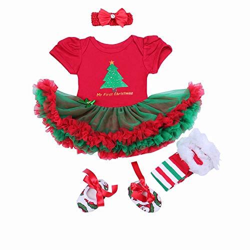 BabyPreg® Baby Mädchen Mein erstes Weihnachten Sankt Kostüm-Partei-Kleid 4PCS (Weihnachtsbaum, 3-6 Monate)