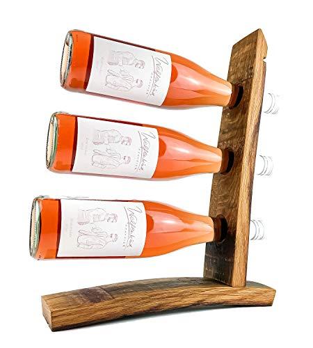 WEINKRAM Weinsegel   Handgemachter Weinhalter aus einem Rotweinfass für 3 Flaschen   Geschenkidee für Weinliebhaber   Hand-Made in Germany   Weinständer   Weinflaschenhalter   Weinregal klein
