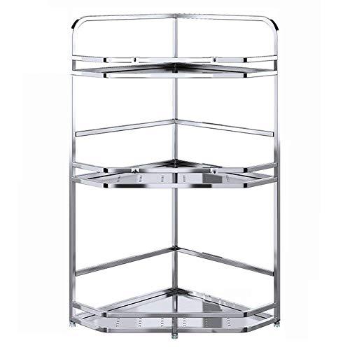 IREANJ Estante de esquina de acero inoxidable 304 de 290 x 600 mm para cocina y baño, soporte de 3 capas, color plateado