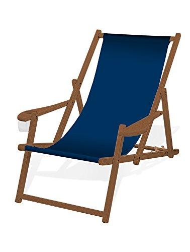 Holz-Liegestuhl mit Armlehne und Getränkehalter, Klappbar, mit dunkelbrauner Lasur, Wechselbezug (Dunkelblau)