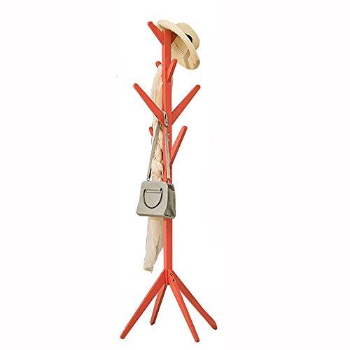 QFFL Support en bois simple / solide de plancher / Chambre à coucher de salon / stockage de vêtements / cintres (4 couleurs facultatives) Cintre mural ( Couleur : Orange )