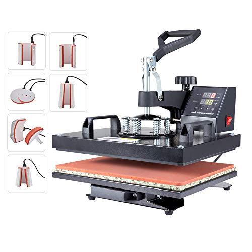 Orion Motor Tech Pressa a Caldo 30x38cm Pressa di Calore Macchina Sublimazione Pressa per Stampa Magliette Trasferimento a 360 Gradi per T-Shirt Tappo Tazza (Nuovo Modello) (8 in 1)