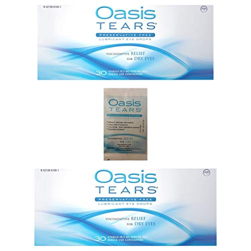 65 Vials Oasis TEARS Preservative-Free Lubricant Eye Drops (2 Boxes, 30 vials Each and one 5 Vial Packet)
