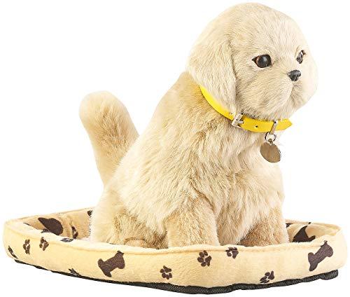 infactory Bellender Hund: Funktions-Plüschhund mit Hundekorb, Bewegungs- und Berührungssensor (Plüschtier)