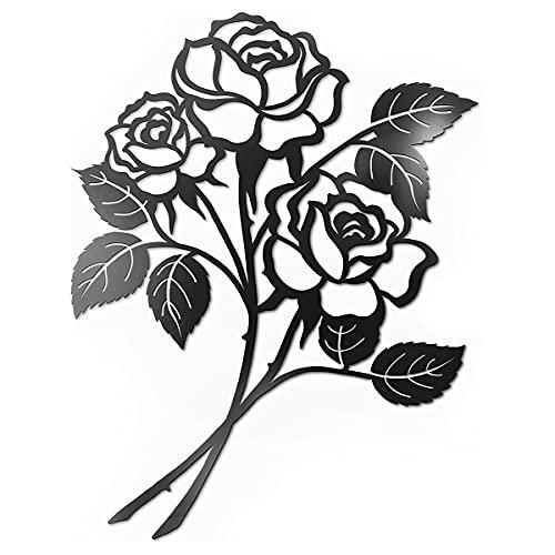 Justmysport Décoration Murale Métal en Forme de Rose Noir Décoration Fer Forgé Murale Sculpture Murale Décorative Accessoire de Décoration Intérieure Tenture Murale Intérieure 11.5*15inch