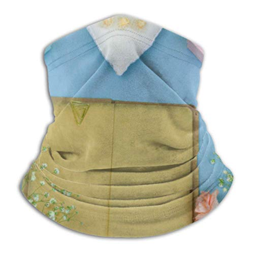 Ahdyr Fleece Neck Warmer multifunctional Top View Vintage Book Empty Sheets Scarf,a Full Face Or Hat, Neck Gaiter, Neck Cap ski face cover, Half face cover,fac