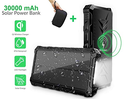 2BConnect Solar Power Bank Phone Charger Portable Qi Wireless 30000mAh, Outputs 5V/3A & Dual Inputs...