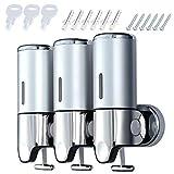 Coolty - Dispenser per sapone a tre camere, erogatore manuale per disinfettante a parete, 1500 ml, per shampoo, per doccia, bagno, hotel, cucina (cromato)