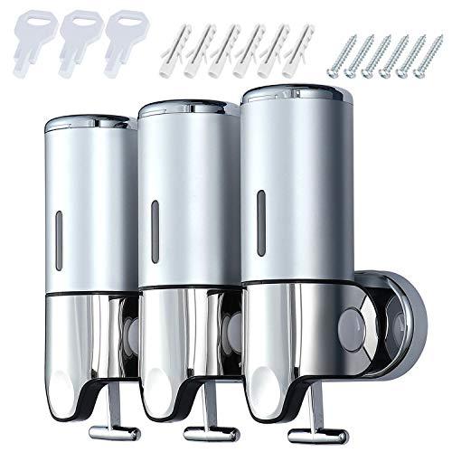 Coolty Bomba dispensadora de jabón de tres cámaras, dispensador de desinfectante manual de pared, 1500ML dispensador de gel de ducha para inodoro, baño, hotel, cocina (Cromado)