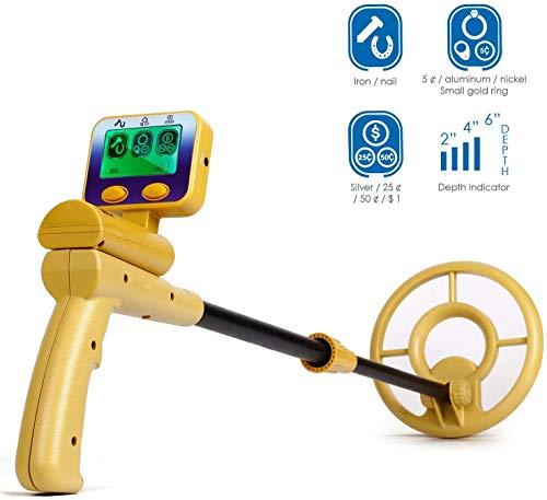 Intey Metalldetektor mit LCD-Display, leicht, aber mit hoher Präzision, um Schätze, Metall, Gold, Silber mit wasserdichter Scheibe und Kopfhöreranschluss – Länge verstellbar für Erwachsene und Kinder