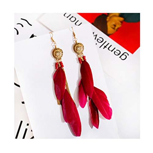 Pendientes de plumas para mujer, estilo bohemio, con flecos, largos colgantes para mujeres, niñas, seis colores, se pueden seleccionar a la moda (color: rojo)
