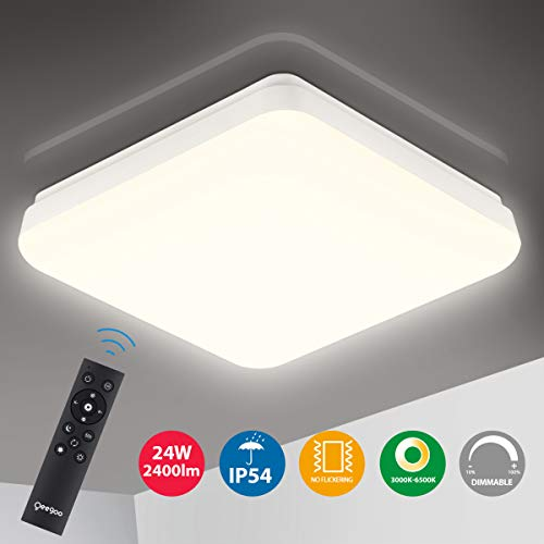 Oeegoo 24W Lámpara de Techo Regulable, 2400LM LED Plafón, IP54 Impermeable para...