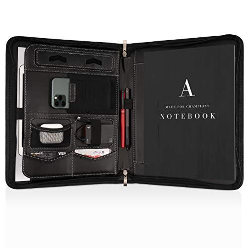 Portadocumentos A4 Premium con doble cremallera y compartimento de 11 pulgadas para la tableta, IPad Carpeta de Conferencias profesional de PU-cuero para hombres y mujeres