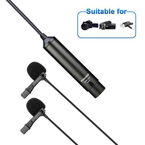 20ft/6m Microfono Lavalier XLR Dual Head, MOURIV Cardioid Phantom Power Risvolto clip su microfono per Canon Sony Videocamere Panasonic ZOOM H4n H5 H6 Tascam DR-60D DR-70D DR-100 Registratore