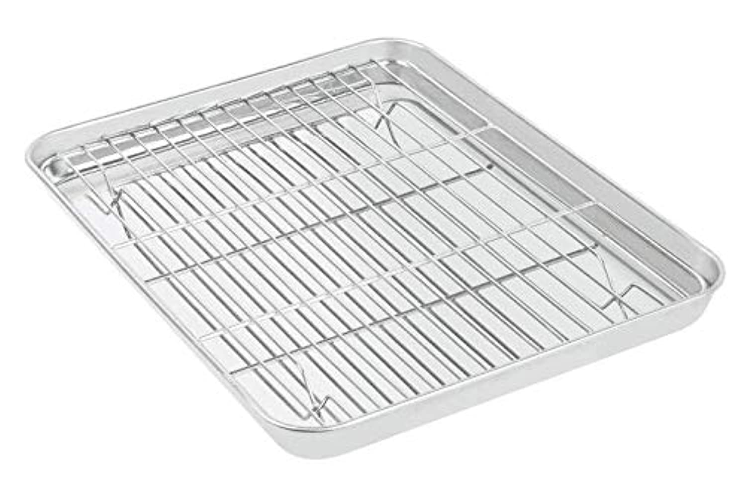 Momugs Baking Sheet with Wire Rack Set - 12.5 X 9.5 inch Stainless Steel Heavy Duty Baking Pan with Cooling Roasting Rack for Cookies, Cakes, Breads - Metal Tray & Rack Are Dishwasher Safe