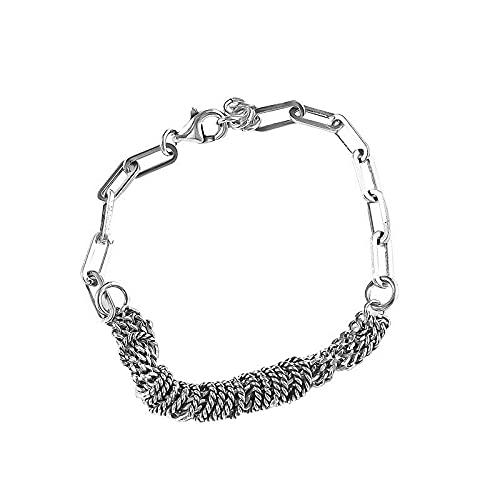 hongruida Pulsera de plata de ley S925 para mujer, anillo circular, geometría, simple y retro de lujo, joyería (color de la gema: ASL0301)